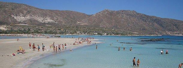 La plage d'Elafonissi en Crète