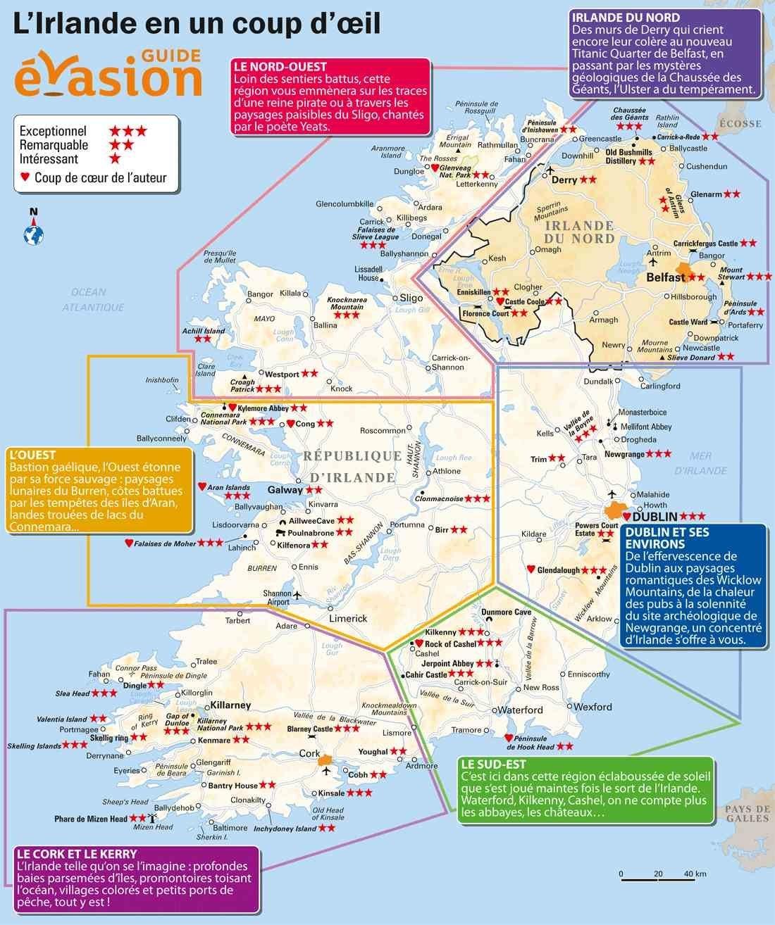 Irlande carte du monde for Carte touristique