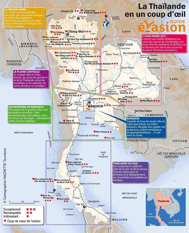 Thailande Carte Touristique Arts Et Voyages