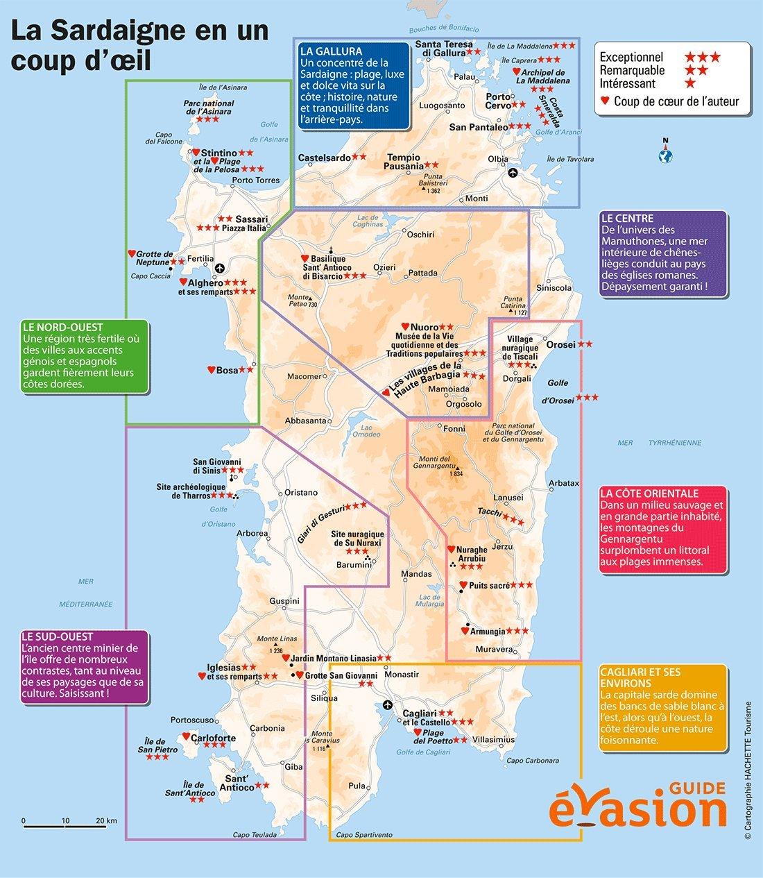 Carte Touristique De Sardaigne Voyages Cartes