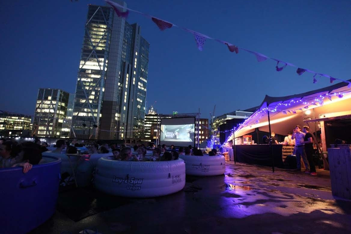 london rooftop hot tub cinema