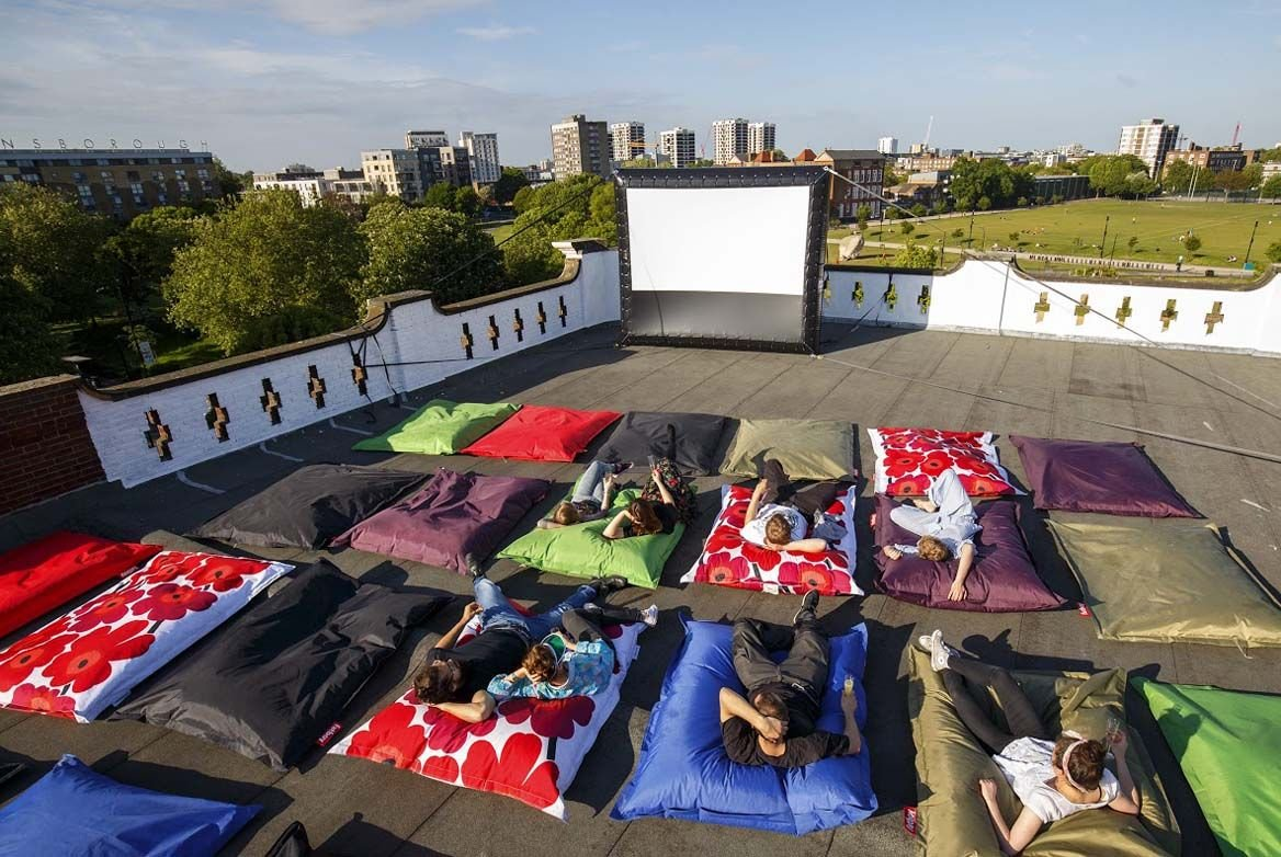 london rooftop pillow cinema