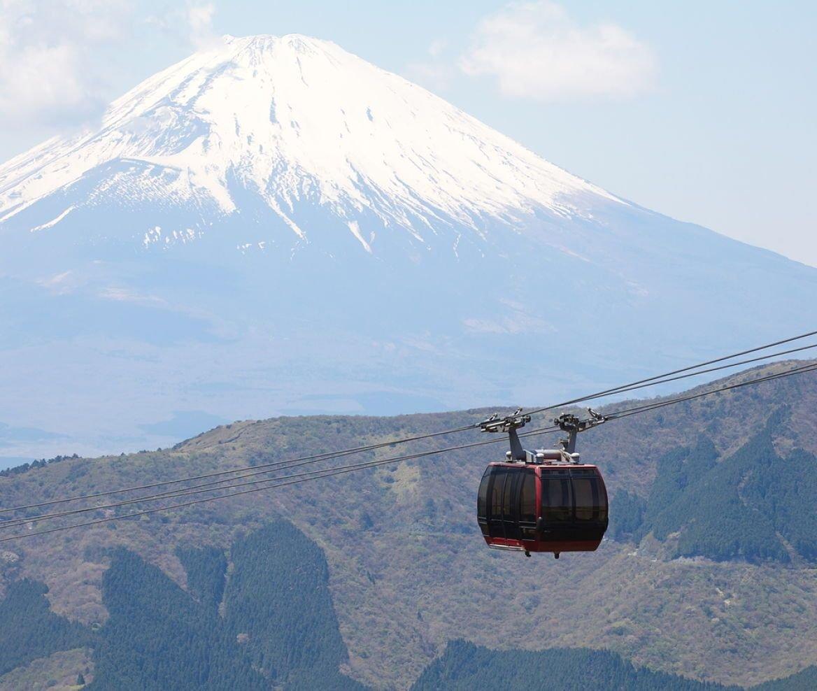 Le mont Fuji et le téléphérique à Hakone, Japon