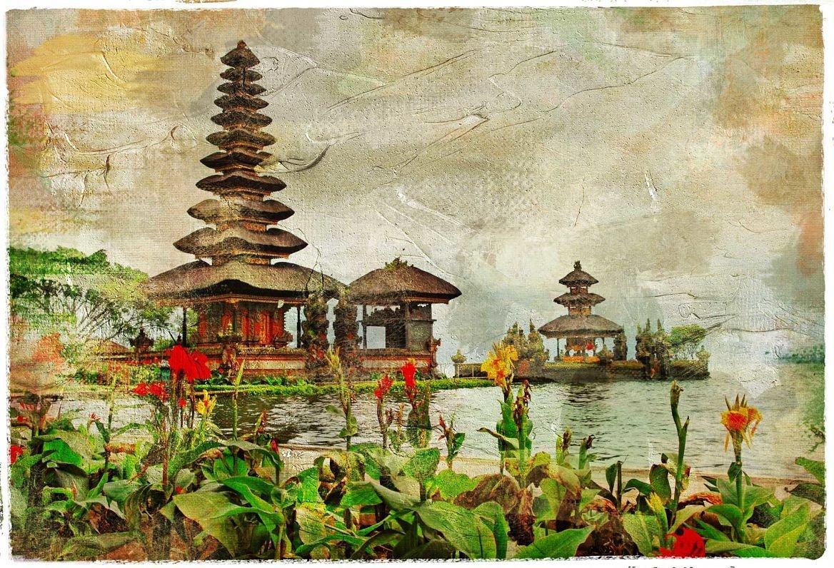 Temple balinais sur peinture, Bali