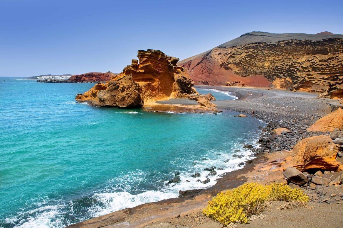 Playa d'El Golfo, île de Lanzarote, Canaries, Espagne