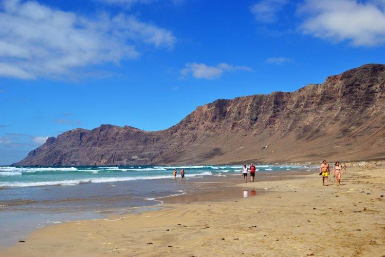 Playa de Famara, île de Lanzarote, Canaries, Espagne