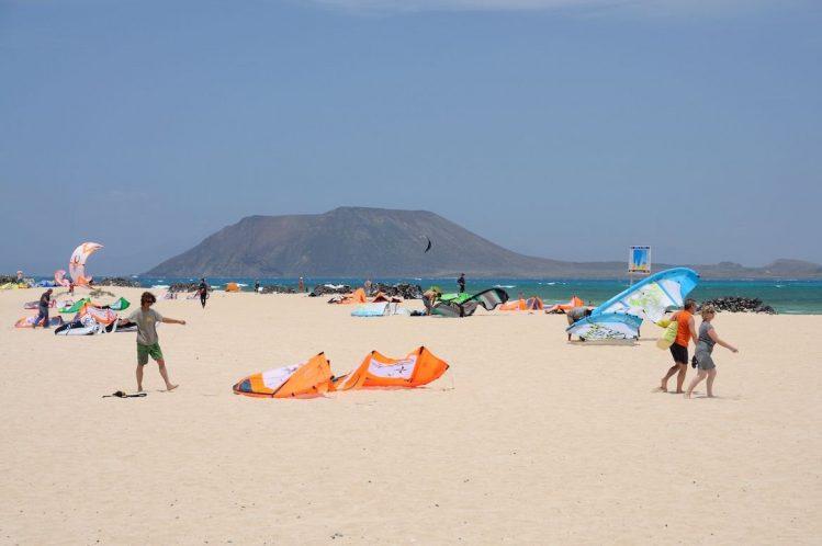 kite-surfeurs à corralejo canaries