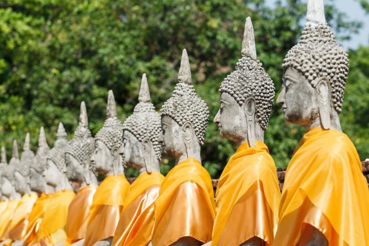 Statues de Bouddha, Ayutthaya, ville irrésistible de Thaïlande