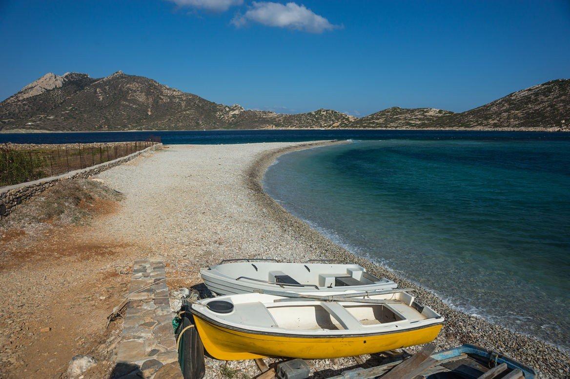 Plage d'Agios Pavlos, Amorgos, Cyclades, Grèce