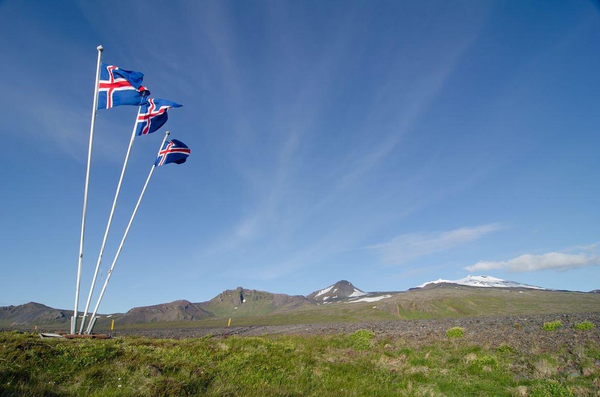 Des drapeaux nationaux, péninsule de Snaefellsnes
