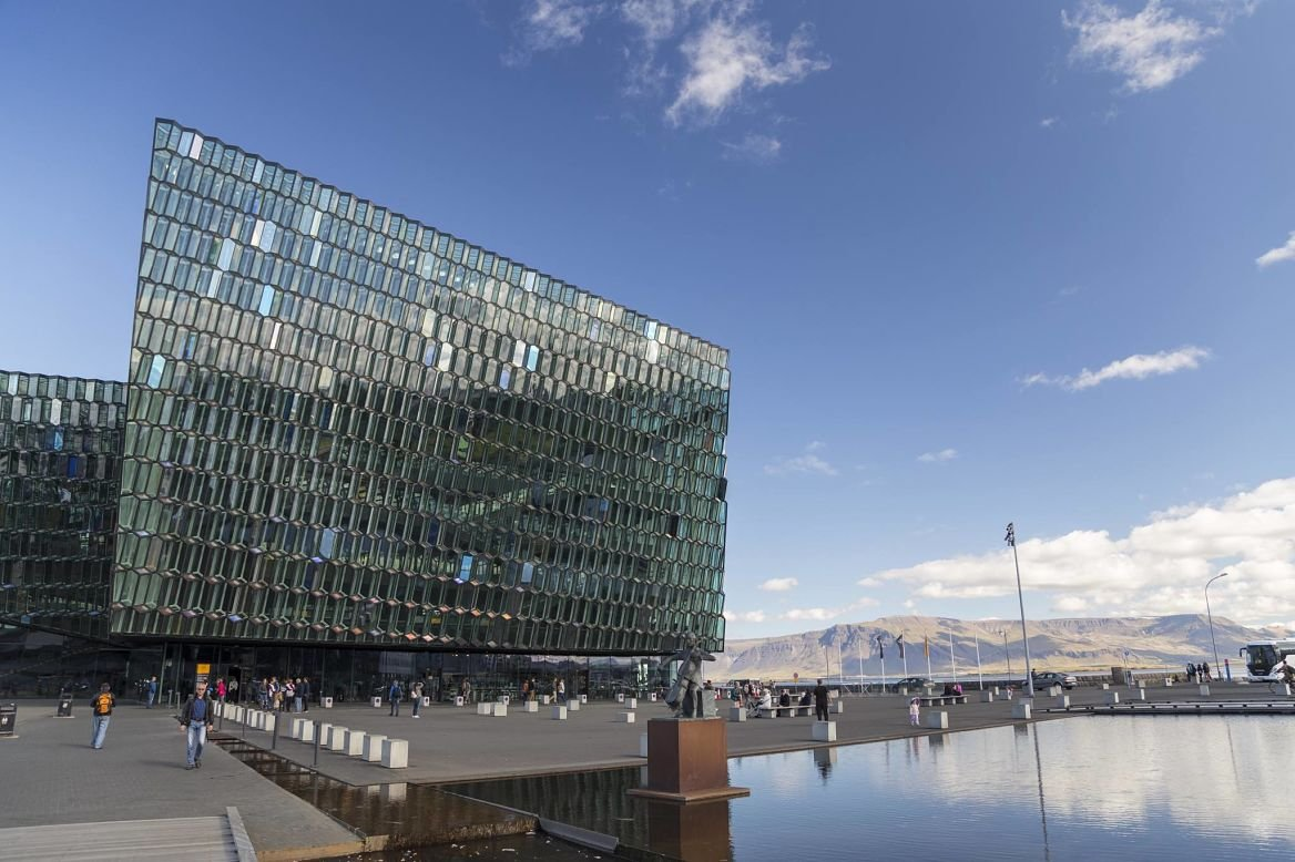 Le Centre Culturel Harpa vu de l'extérieur, Reykjavik, Islande