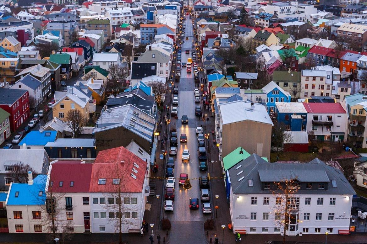 La vue de la vielle ville de Reykjavik, en Islande