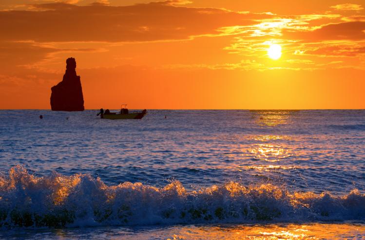 plage baelares ibiza sunset