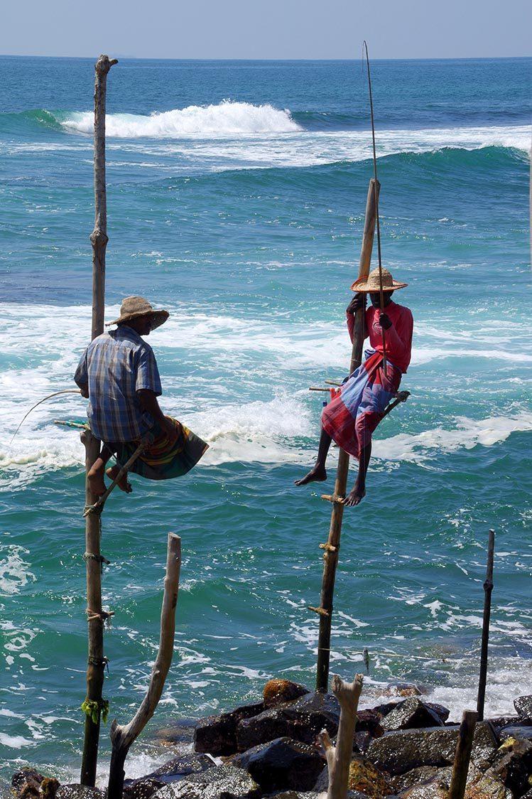 pêcheurs échasses côte sud Sri Lanka