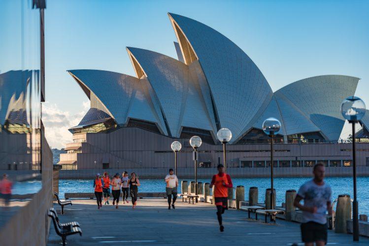 sydney circular quay opera footing joggeurs courir